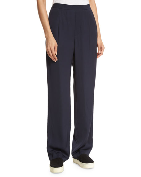 Pleated Crepe Pull-On Trousers