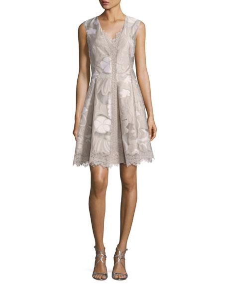 Lola Sleeveless Floral Lace-Trim Dress, Multi