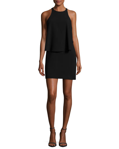 Halston Heritage Sleeveless Round-Neck Tiered Dress, Black