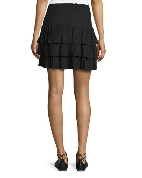 Alison Smocked-Waist Tiered Mini Skirt, Black