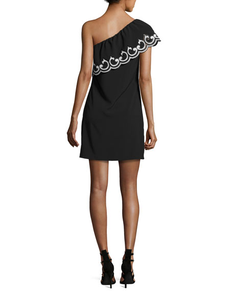 Darla Lace-Trim One-Shoulder Mini Dress, Black/Ivory