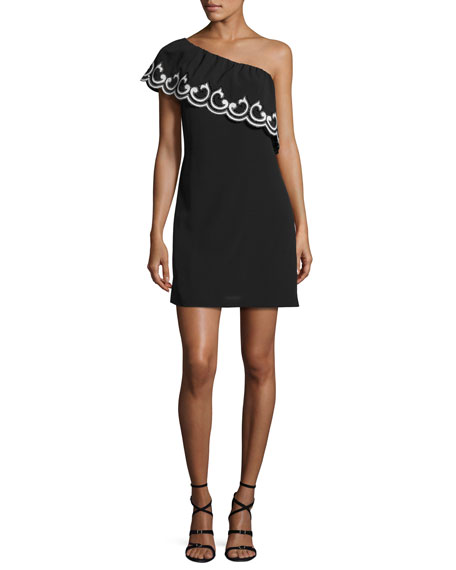 Ramy Brook Darla Lace-Trim One-Shoulder Mini Dress, Black/Ivory