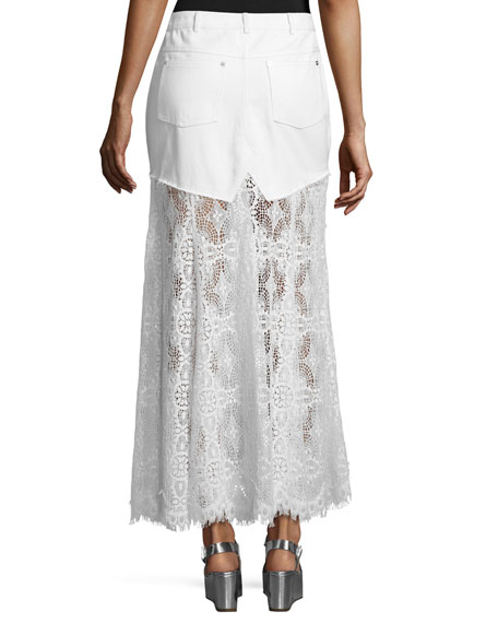 Denim & Lace Maxi Skirt, Ivory