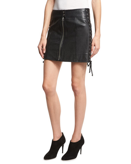 McQ Alexander McQueen Laced Paneled Leather Mini Skirt,