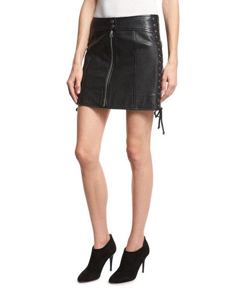 Laced Paneled Leather Mini Skirt, Black