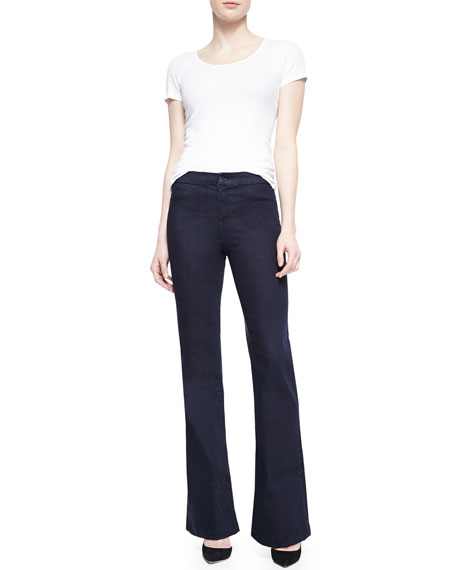 Tailored High-Rise Flared Denim Trousers