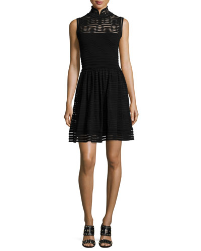 Solid Rib-Stitch Fit & Flare Dress