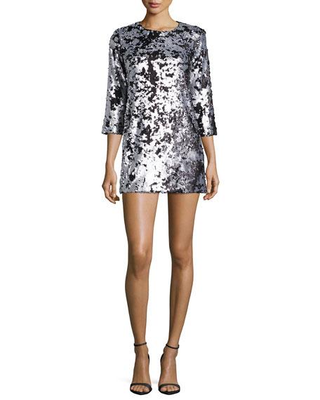 Danya Metallic Mini Dress, Pewter/Platinum