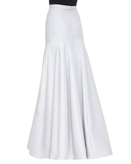 Long Pleated Trumpet Skirt