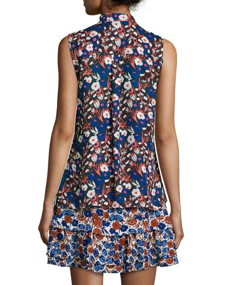 Floral-Print Sleeveless Silk Ruffle Dress