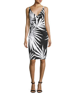 Liz Sleeveless Palm-Print Sheath Dress, Black