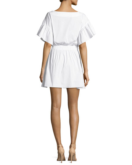 Vivian Bell-Sleeve Stretch-Poplin Dress, White