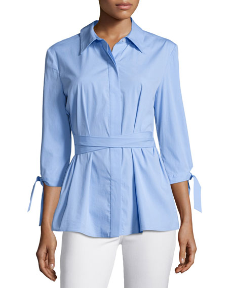 Milly Avery Tie-Waist Stretch-Poplin Top, Sky