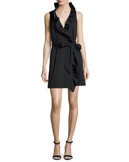 Sleeveless Stretch-Poplin Ruffle-Front Wrap Dress, Black