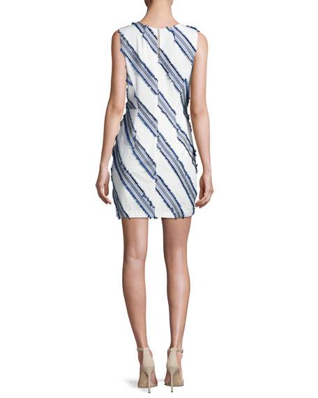 Kendra Diagonal-Striped Mini Sheath Dress, Navy