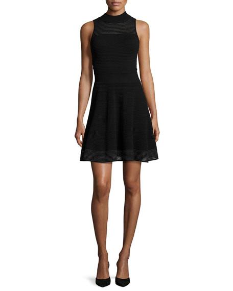 Sleeveless Hexagon-Stitch Fit-&-Flare Dress