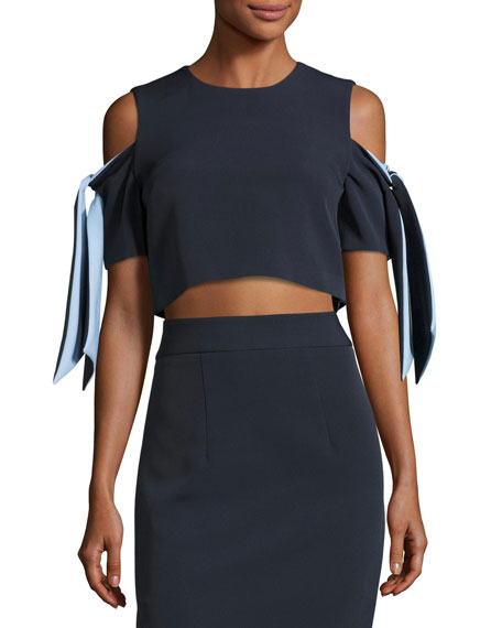 Ansley Cold-Shoulder Stretch-Crepe Cropped Top, Blue Pattern
