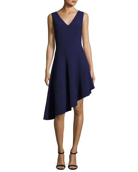 Sleeveless Asymmetric Draped Dress