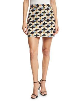 Chain-Print Faille Miniskirt, Black