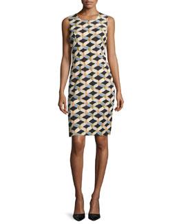 Kendra Sleeveless Chain-Print Faille Sheath Dress, Black