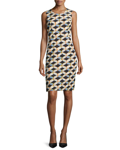 Kendra Sleeveless Chain-Print Faille Sheath Dress, Black