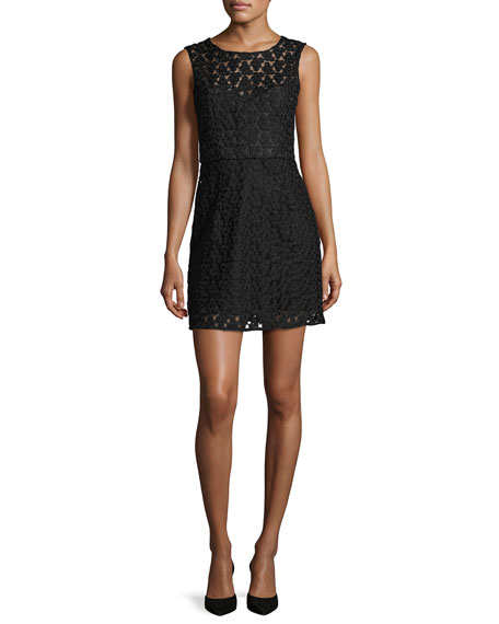 Nina Sleeveless Floral-Embroidered Lace Dress, Black