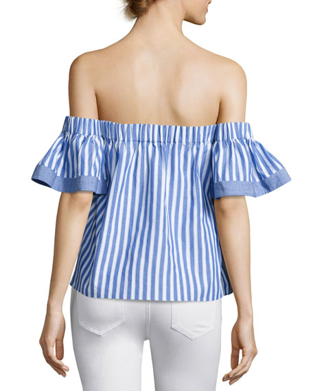 Off-the-Shoulder Striped Poplin Blouse, Multi