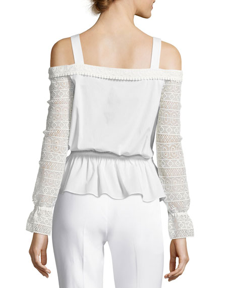 Sylvie Lace-Sleeve Cold-Shoulder Blouson Top, Ivory