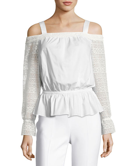 Ramy Brook Sylvie Lace-Sleeve Cold-Shoulder Blouson Top, Ivory