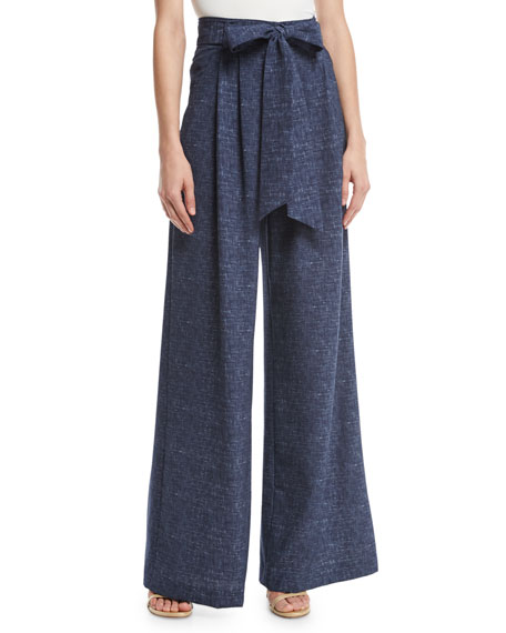 Natalie Denim-Print Crepe Wide-Leg Pants