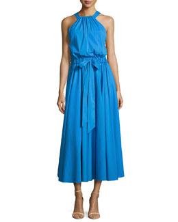 Lizzy Sleeveless Self-Tie Poplin Midi Dress, Blue
