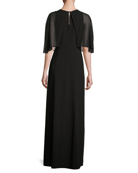 Cape-Sleeve Stretch Crepe Gown, Black