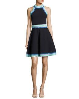 Woven-Trim Flare Dress