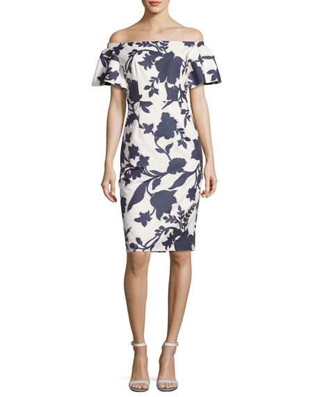 Dakota Off-the-Shoulder Floral Jacquard Sheath Dress