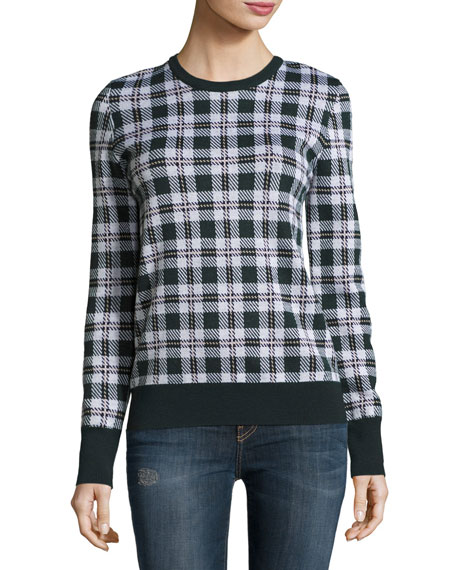 Shane Plaid Wool Sweater, Ivory Multi