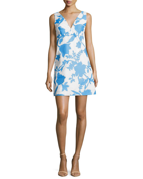 Sleeveless Floral-Jacquard Minidress, Bright Blue