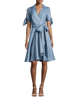 Valerie Linen Chambray Wrap Dress, Blue