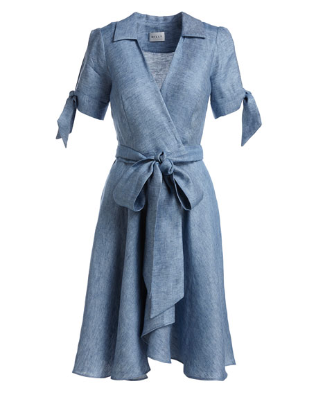 Milly Valerie Linen Chambray Wrap Dress Blue