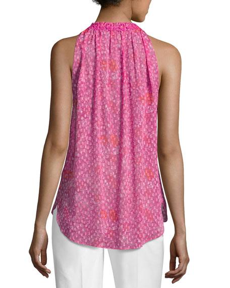 Sashi Sleeveless Floral-Print Silk Blouse, Multi