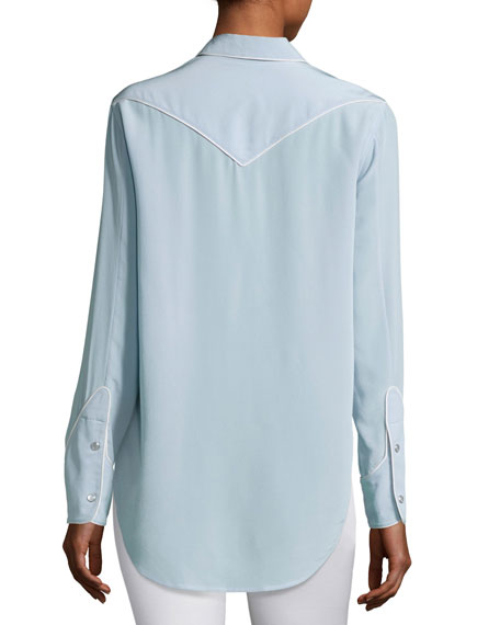 Jesse Pearly-Snap Western Shirt with Contrast Piping, Light Gray