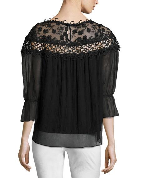 Bobbie Floral Appliqué Silk Chiffon Blouse, Black