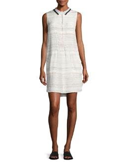 Pascal Sleeveless Scribble-Print Silk Dress, White