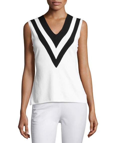 Rag & Bone Daphne Striped Knit V-Neck Tank,