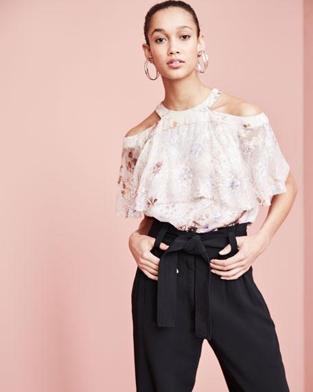 Genevieve Embellished Floral Silk Popover Blouse, Nude