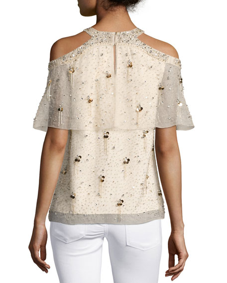 e3216bf15a2f96 Elie Tahari Genevieve Embellished Silk Popover Blouse