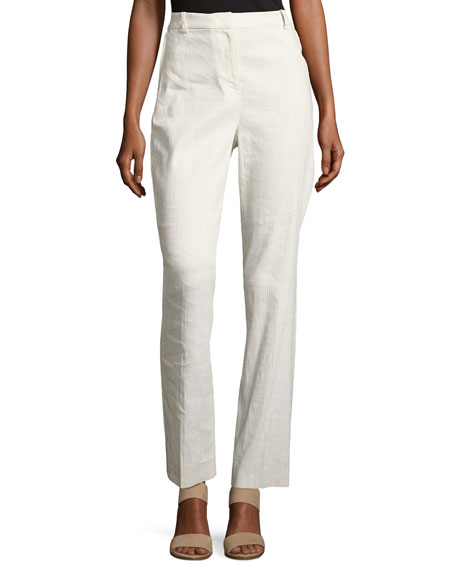 Aiden Seersucker Linen-Blend Straight-Leg Pants, Multi