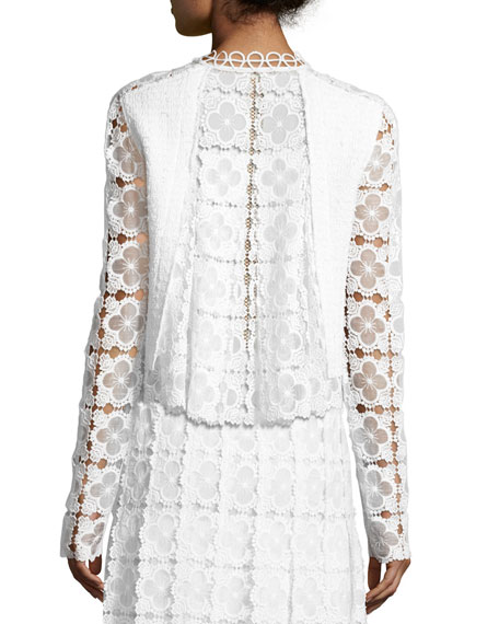 Annabella Textured Lace-Panel Jacket, White