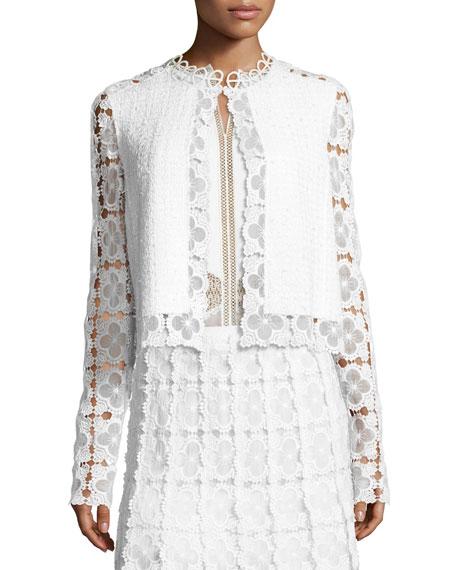 Annabella Textured Lace-Panel Jacket, White