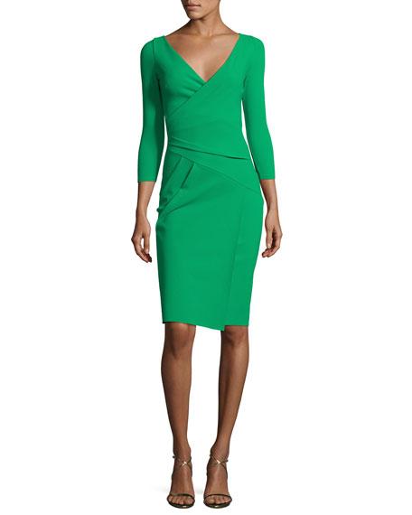 3/4-Sleeve Faux-Wrap Jersey Dress, Green