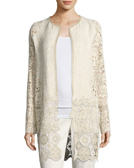 Elie Tahari Jaya Floral Lace Coat, Multi